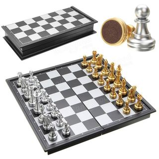 Magnetic Chess Set with Gold Silver pieces
