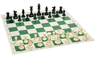 12 x Plastic Chess Pieces, Board and Bag