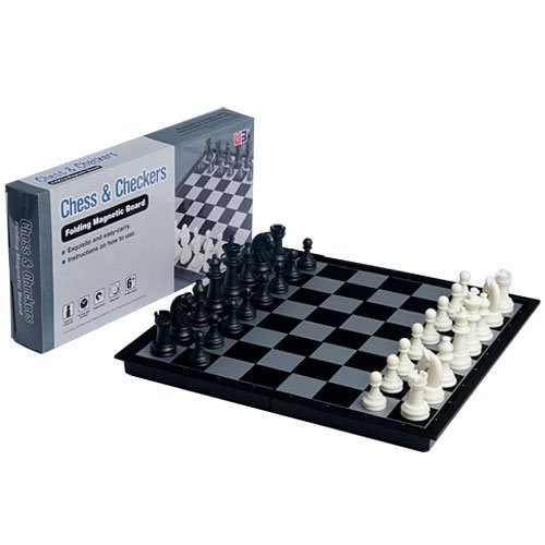 Magnetic Chess + Checkers Set with Black White pieces