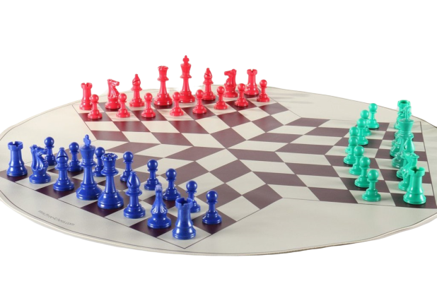 3 Way Chess Set, 3 x Plastic Chess Pieces, Board and Bag